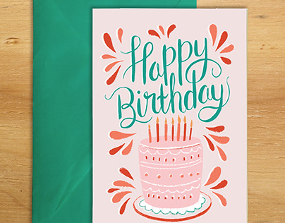 Happy Birthday illustrated card with hand lettering