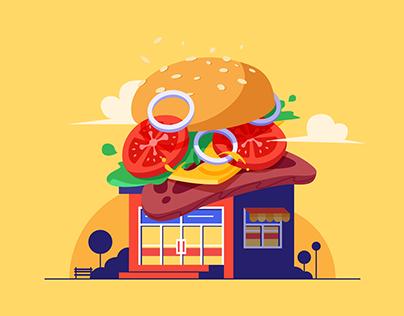 Burger Shop Illustration