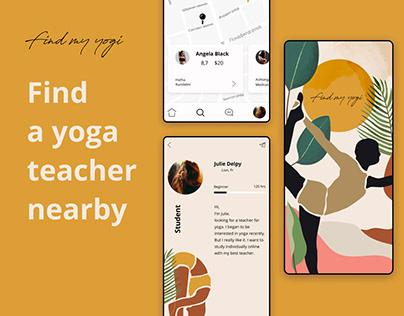 App to find a yoga teacher nearby. Find my yogi