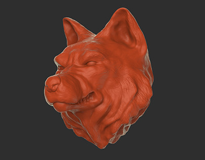 Growling Wolf /// umbrella handle digital sculpting