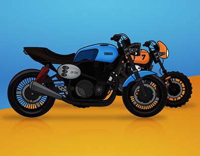 Yamaha Yard Built motorbike illustration