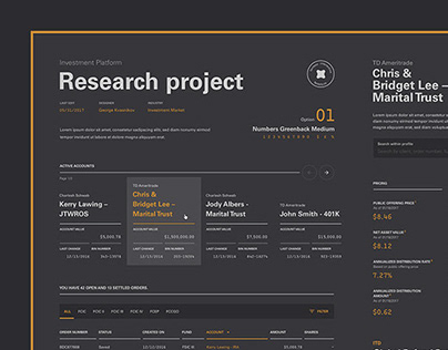 Investment Platform typographic research