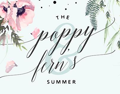 Poppy&Ferns Summer. Watercolor bundle.