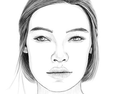 Digital art. Graphic portrait.