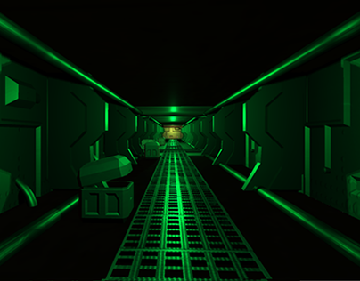 3D game art space corridor and tutorial