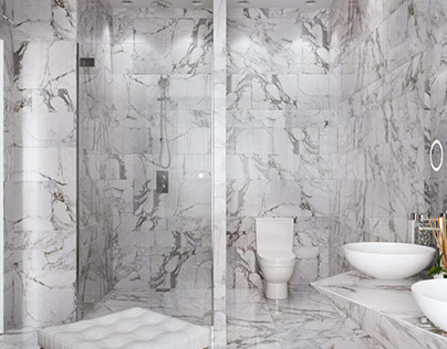 Interior 3D Renders of a Luxurious Bathroom in Marble