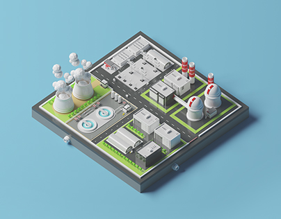 Nuclear plant station LowPoly