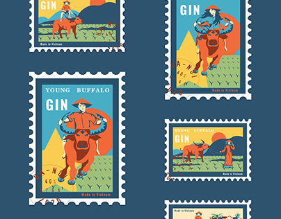 Illustrations for the gin Young Buffalo