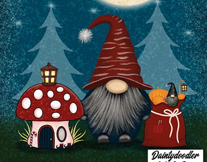 Digital Illustration - Seasons Greetings Gnomies