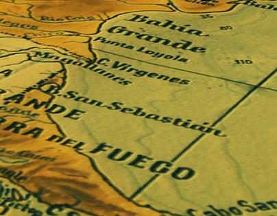 Overflight simulation of Argentina 3D map