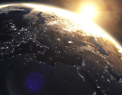 3D Design: Weltraum Sonnenaufgang