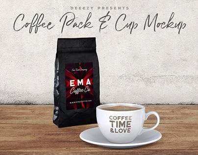 Coffee Pack & Cup – Free Mockup