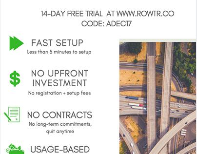 ROWTR.CO Advertisement flyer - DESIGN & COPYWRITING
