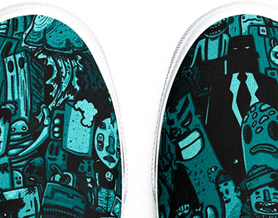 Threadless shoes pattern cartoon