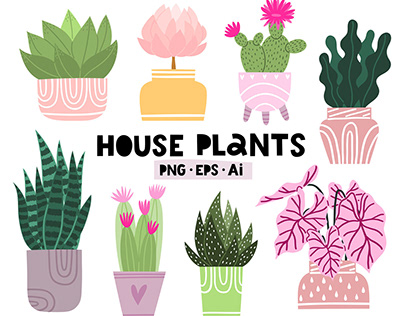 Hand drawn house plants clip art collection.