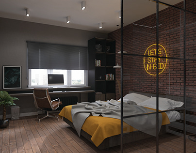Loft-style bedroom and dressing room design