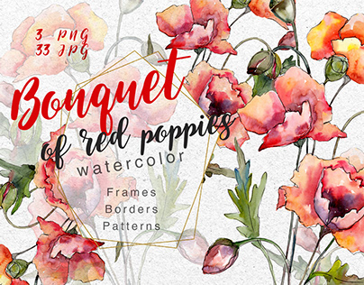 Bouquet of red poppies PNG watercolor set