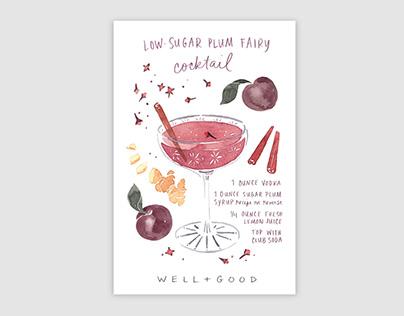 Low Sugar Plum Fairy cocktail illustration, Well+Good