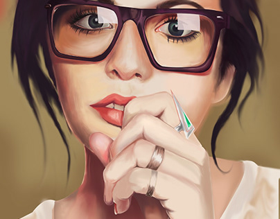 Digital painting-Cute Girl