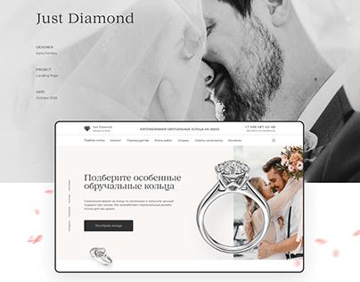 Website design for wedding rings Just Diamond