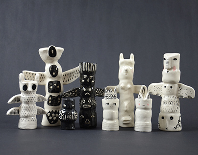 Ceramic totem poles