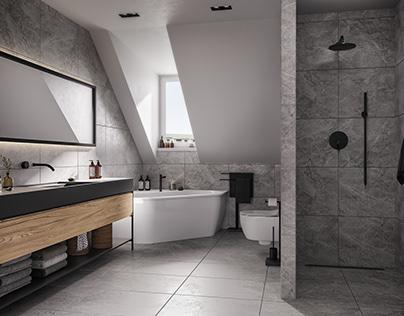 Interior visualization of an attic apartment in Munich