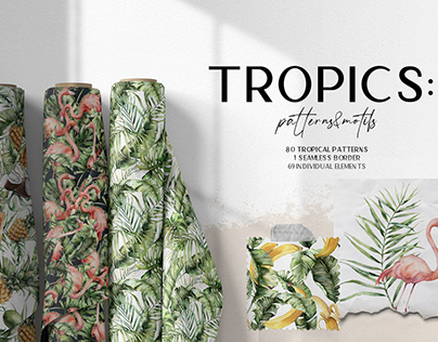 Tropics: patterns and motifs. Tropical leaves, flowers