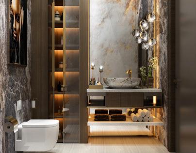 Neoclassic Guest Bathroom design in UAE Dubai