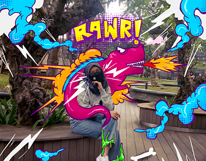 RAWR! Pop Art Doodle on Photo