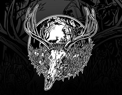 Hunting theme deer skull t-shirt