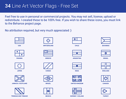 Freebie - 34 Simplified Line Art Vector Flags