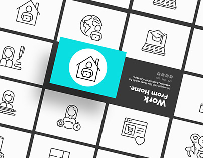 Work From Home | 16 Thin Line Icons Set