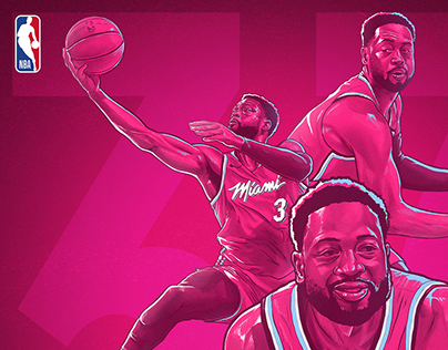 NBA DWYANE WADE BDAY ILLUSTRATION - MIAMI VICE EDITION