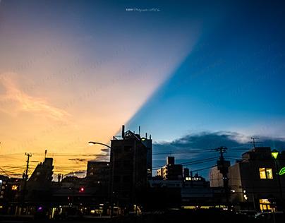Sunset sky and blue sky 夕焼け空と青い空