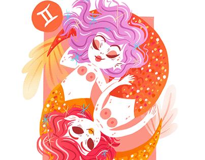 Zodiac Illustration - mermaid horoscope