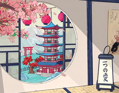 塔 - Pagoda view from Tatami Room