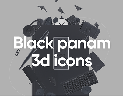 Black panam - Pack of 3d icons