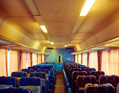 Travelling in an empty train cart in Finland
