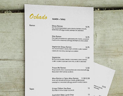 Ochado Menu Design