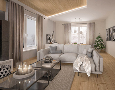 Modern Concrete Livingroom / Nowoczesny salon z betonem