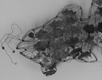 Floating fish wire sculpture by Abd A. Masoud