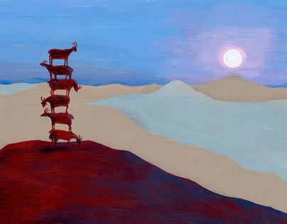Salida de la luna en el Valle de las Cabras
