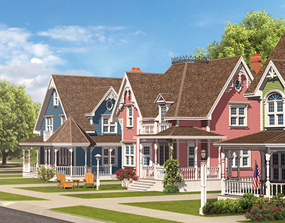 Victorian houses and outdoor furniture 3D models