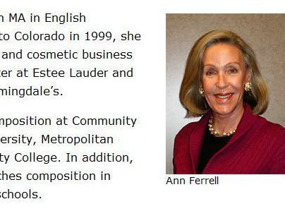 Website for Writing Services offered by Ann Ferrell