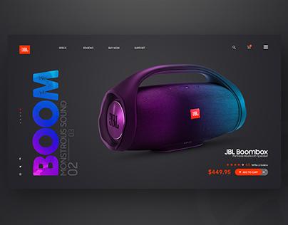 JBL Boombox Landing page Web UI