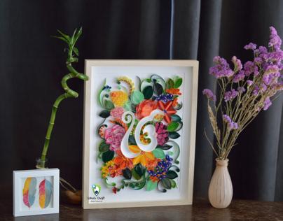 Ik onkar symbol with floral paper artwork