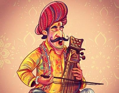 Indian folk music illustration.