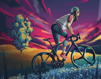 Girl cycling in nature