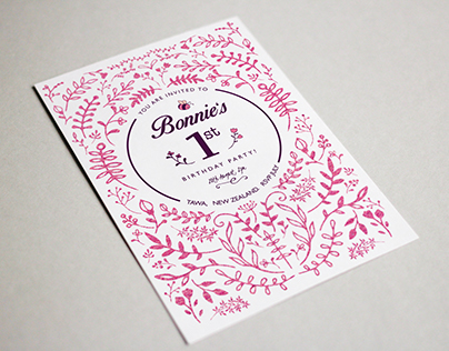 Bonnie's First Birthday Invite