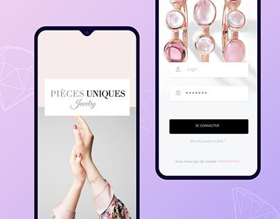 Pièces uniques / Proposition design application mobile